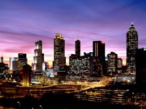 Atlanta, Georgia - City Skyline at Sunset