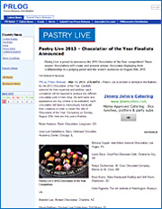 Pastry Live 2013 - Chocolatier of the Year Finalists Announced